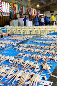 カニの水揚げ市場